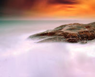 Rocks in the sea in sunset Royalty Free Stock Photography