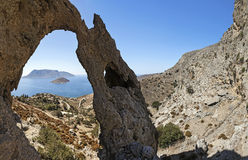 Rocks and sea view, Kalymnos Island, Greece Royalty Free Stock Images