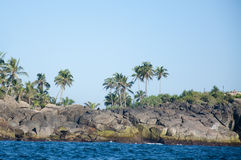 The rocks and seashore of Unawatuna, Sri Lanka Stock Photography