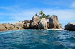 Rocks on Seychelles coast Royalty Free Stock Photo