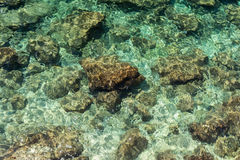 Rocks and shallow water from above Stock Images