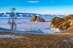 Rocks Shamanka at Cape Burkhan in Lake Baikal Stock Photo