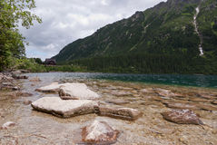 Rocks on the shore. Bank of a mountain lake in Poland Royalty Free Stock Photos