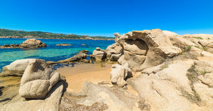 Rocks by the shore in Cala dei Ginepri Royalty Free Stock Images