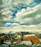 Rocks and Sky. A painting featuring rocks and a skyscape