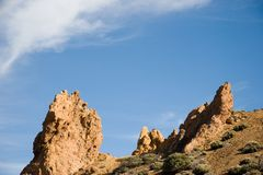 Rocks and sky. Volcanic rocks and sky royalty free stock photography