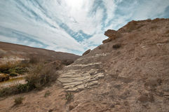 The Rocks and the Sky. The rocks of the Negev desert. Israel Stock Photo