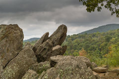 Rocks on the Skyline Drive in Shenandoah National Park. Rock formation in the Shenandoah National Park Stock Photos