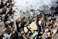 Rocks and snow nature background, closeup Royalty Free Stock Photos