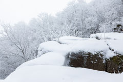 Rocks with snow at winter Stock Images