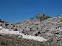 Rocks And Snowfield In The Alps Stock Photos