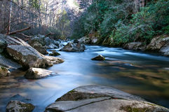 Rocks with Soft Flowing River Royalty Free Stock Photography