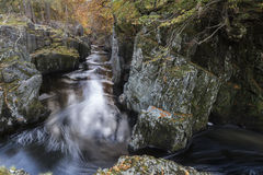 Rocks of Solitude Gorge on the North Esk River in Scotland. Stock Photo