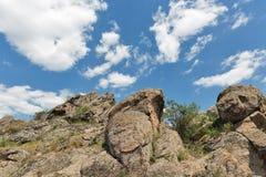 Rocks of Southern Bug river in Migeya, Ukraine. Royalty Free Stock Photos