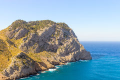 The rocks in Spain and sea for print. The Cape Formentor in the Coast of North Mallorca near sea Spain stock photography