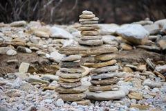 Rocks stacked on the Livadi beach on Thassos Island, Greece Royalty Free Stock Photography