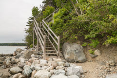Rocks and stairs at Pretty Marsh on Mount Desert in Maine. Pretty Marsh on Mount Desert in Maine USA Royalty Free Stock Photos