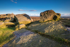 Rocks on Stanage Edge. Located in the Peak District National Park in England, Stanage Edge is the largest of the gritstone edges that overlook Hathersage in Stock Photography