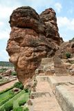 Rocks and Steps. Steps for cave temples cut in rocks at Badami, Karnataka, India, Asia Stock Image