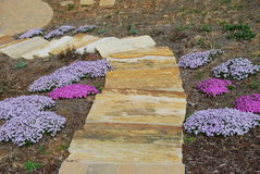 Rocks steps and flower garden Royalty Free Stock Photography