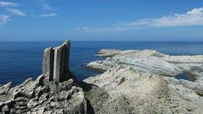 Rocks in Stolbchatiy cape, Kunashir stock image