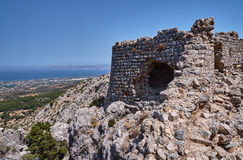 Rocks and stone ruins on the island of Kos Royalty Free Stock Photo