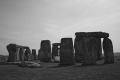Rocks of Stonehenge. Ancient monument Stonehenge in black and white Royalty Free Stock Photography
