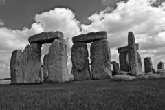 Black and White Stonehenge. Rocks of Stonehenge On a Cloudy Summer Day, Black and White royalty free stock photography