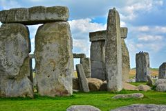 Rocks of Stonehenge On a Cloudy Summer Day. Close up of the Rocks of Stonehenge On a Cloudy Summer Day royalty free stock photos