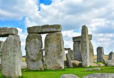 Rocks of Stonehenge On a Cloudy Summer Day. Close up of the Rocks of Stonehenge On a Cloudy Summer Day royalty free stock photography