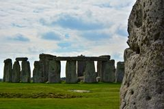 Rocks of Stonehenge On a Cloudy Summer Day, Textured Stone. In Foreground stock images