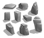 Rocks and stones. Cartoon Stones and rocks in isometric style. Set of different boulders. Stock Image