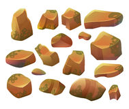 Rocks and stones. Cartoon Stones and rocks in isometric style. Set of different boulders. Royalty Free Stock Image