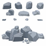 Rocks, stones collection. Different boulders in isometric 3d flat style stock illustration