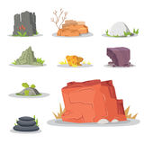 Rocks and stones elements collection set. Vector illustration of solid materials. Cartoon stones in different colors. Royalty Free Stock Photos