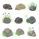Rocks and stones with grass, flowers and butterfly collection set. Vector illustration. Stock Photography