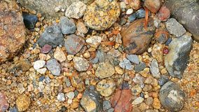 Rocks and stones. Groups of different rock sizes at the river Stock Photo