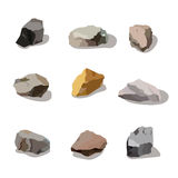 Rocks and stones mountain set. Rock  stone cartoon objects for game ui industry. Icon app design isolated on white. Stock Photography