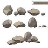 Rocks and stones. Rocks and stones single or piled for damage and rubble for game art architecture design Royalty Free Stock Images