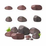 Rocks, stones set in cartoon style vector illustration