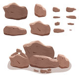 Rocks, stones set in cartoon style. Twelve isometric 3d boulders vector illustration