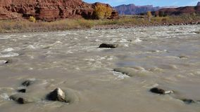 Rocks and stream. Landscape in Colorado River Valley, Utah stock video footage