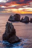 Rocks on sunset Arnia Beach. Stock Image