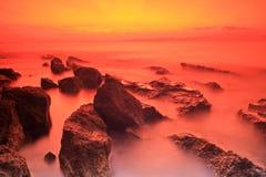 Rocks at sunset on the island of Brac Stock Photography