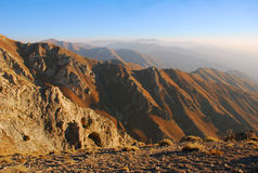 Rocks at sunset. Tien Shan. Stock Photography