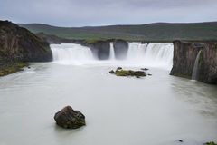 Rocks and surrounding cliffs at a Godafoss, Iceland Stock Photos