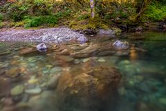 Rocks in Swimming Hole in Brice Creek. In central Oregon stock photography
