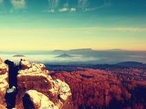 Rocks täckte med ny pulversnö, den dimmiga dalen stenig rock Arkivbild