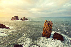 Rocks in te ocean water at sunset. Cantabria Royalty Free Stock Photos