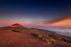 Rocks on the Teide volcano in the light of the rising sun Stock Image